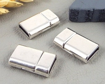 3 magnetics clasp extra flat silver plated for leather 0,4 inches