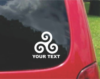 Set (2 Pieces) Triskel Triskelion Celtic Symbol Sticker Decals with custom text 20 Colors To Choose From.  U.S.A Free Shipping