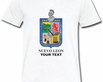 Nuevo Leon Mexico T-shirt V-Neck Tee Vapor Apparel with a FREE custom text(optional)