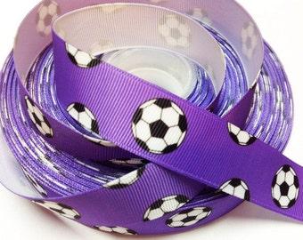 7/8 inch Soccer Balls on Purple- SPORTS Printed Grosgrain Ribbon for Hair Bow