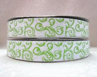 7/8 inch LIME GREEN GLITTER Swirls on White -  Printed Grosgrain Ribbon for Hair Bow