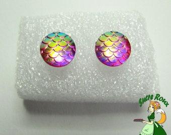 Nail chips earrings scales Dragon Mermaid iridescent blue green gold resin purple Fushia pink