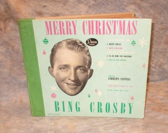 Bing Crosby Merry Christmas Album Decca Records No A.550 Vintage Phonograph a