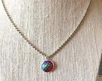 Blue Mermaid Scales Pendant Necklace