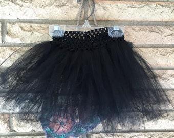 Black Baby Girl No-Sew Tutu on a Crochet Headband