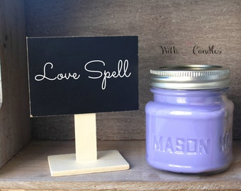 Love Spell Candle. Soy Wax Mason Jar Candle. Hand Poured. Pure Soy Wax. Love Spell Scented Candle.