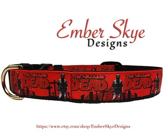 "The Walking Dead (Style 3) Adjustable Dog Collar - 1"" wide"