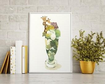 "Giraffe Green Tea Parfait Food Illustration Watercolor Painting 4""X6"" Print"
