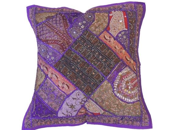 Purple Beautiful Indian Floor Pillow Cover Wood Beaded Sari