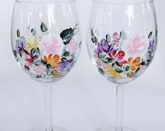 Hand Painted Wine Glasses Rose bouquet nosegays