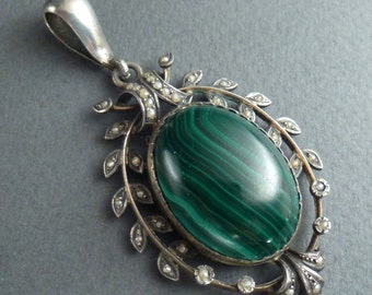 Silver and malachite and pearls locket/pendant c 1880