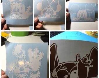 Peeking Disney Mickey, Minnie, Stitch, Goofy, and Donald car decal sticker