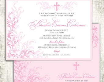 Pink Whimsical Baptism Christening Confirmation Religious Invitation // Pink Swirls and Vines // Cross // Baby Girl // PRINTED Invites