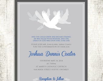 DOVES CONFIRMATION Christening Communion Religious Invitation // Charcoal Grey & Blue // PRINTED Invites