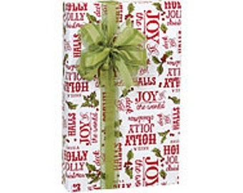 Green, White, and Red Holly Berry Tidings Christmas Script Gift Wrap Paper -15ft
