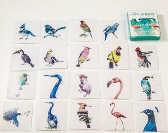 40 sticker set / watercolor birds / DIY Filofaxing scrapbooking Aufkeber