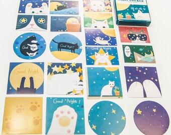 40 sticker set / good night cat / DIY Filofaxing scrapbooking Aufkeber