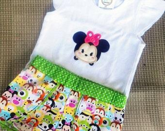 Girls Disney Tsum Tsum Outfit, Shorts Set,Tsum Tsum Birthday outfit , Embroidery Applique t-shirt, Disney Tsum Tsum, Minnie mouse tsum tsum