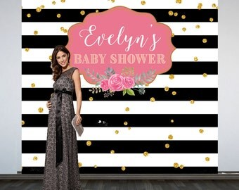 Black and White Stripes Baby Shower Backdrop- Photo Backdrop- Baby Shower Party Backdrop, Printed Vinyl Backdrop, Custom Backdrop