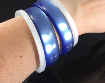 Vintage Set of Four Moonglow Lucite Bangle Bracelets - Blue & White Layered Look Bangles, Mix and Match