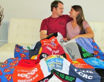 TShirt Memory Quilt - Personalized TShirt Blanket - Graduation Gift - Birthday Gift - Memory Blanket - Custom Keepsake -College Student Gift