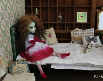 Pink tulips. Outfit 3 pcs:dress, bloomers &socks.