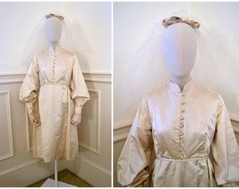 1960s Cream Satin Empire Waisted Short Wedding Dress with Veil