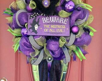 Maleficent wreath. Maleficent decorations. Maleficent decor. Witch wreath. Halloween wreath. Halloween decor. Halloween front door.