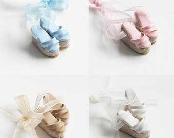Cute Ribbon Wedge Sandals for Blythe, Dal, Pullip,  Obitsu 21