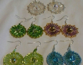 Dazzling beaded circular earrings