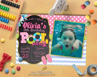Pool Party Invitation with Photo / Digital Printable Swimming Birthday Invite for Kids / DIY Party