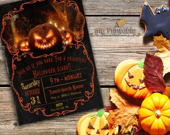 Halloween Invitation Printable / Digital Pumpkin Invite / DIY Party