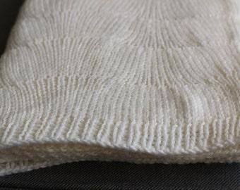 Handmade Knitted Baby Blanket - White