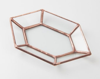 Diamond Jewelry Tray  // Clear Glass with Copper, Silver or Black Finish