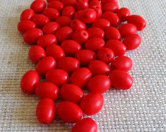 Red Glass African Trade Beads | Bohemian Glass Trade Beads – Red Czech Glass Beads – Red African Trade Beads – Antique Glass Beads Red