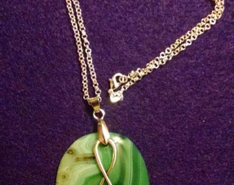 Agate Gemstone Pendant Necklace, Sterling Silver Chain