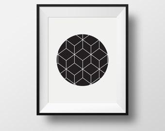 cubic art , black and white wall print, geometric print wall, print wall art
