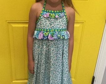Girls Maxi Halter Dress Tiny Aqua Blossoms Fabric