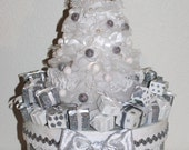 "Beautiful CHRISTMAS ""One of a Kind"" All Lace Christmas Tree ""GIFT BOX/Memory Box/Decoration"" Sparkly and Festive"