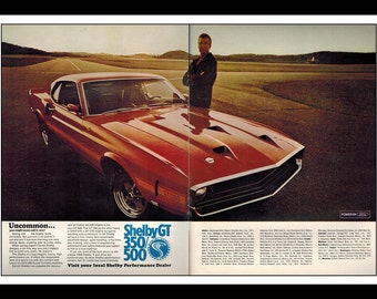 """Vintage Print Ad February 1969 : Carroll Shelby Ford Automobile Car Art Decor 2 Page Spread 16"""" x 11"""" Print Advertisement"""