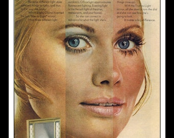 "Vintage Print Ad December 1969 : Clairol Cosmetics - True To Light Mirror Sexy girl Wall Art Decor 8.5"" x 11"" Advertisement"