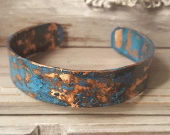 Copper Cuff, Blue Copper Bracelet, Cuff Bracelet