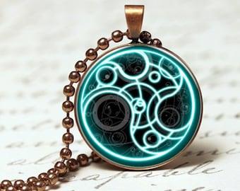 Blue futuristic style unusual pattern pendant necklace
