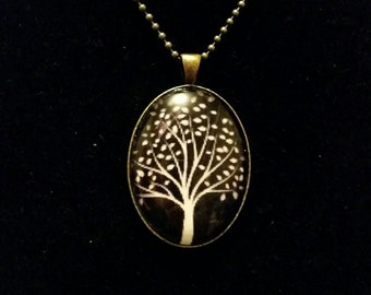Black Tree of life pendant necklace