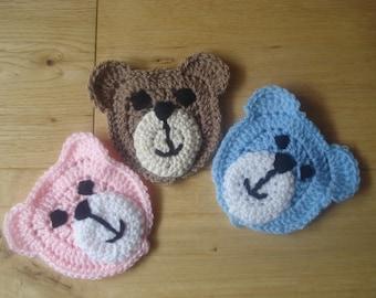 Hand Crochet Teddy Faces for Appliqué