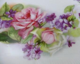"""Vintage Victorian 9 1/2"""" Porcelain Vanity Dresser Tray w/ Pink Roses & Violets"""