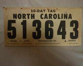 Vintage 1980 North Carolina 20-Day Temporary Cardboard License Plate