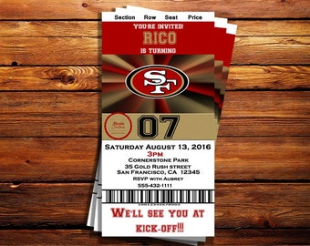 San Francisco 49ers Ticket Birthday Invitation-Shipping Included on Price for Print Orders- Can be customized to any occasion