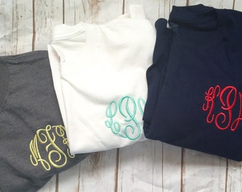 Monogrammed Long Sleeve Tshirt, Personalized Shirt, Monogram Tee, Fall Shirt, Womens Short  Sleeve