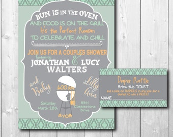 Couples Baby Shower Invitation with Diaper Raffle Ticket insert / DIGITAL FILES / printable / wording can be added or changed